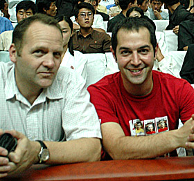 Nick Bonner with fellow filmmaker Dan Gordon at Pyongyang International Film Festival in 2004  by Ron Gluckman in North Korea