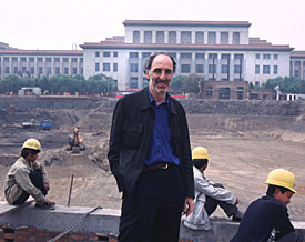 Architect Paul Andreu at site of National Theatre in Beijing, China