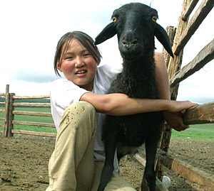 A couple kids in Mongolia  by Ron Gluckman